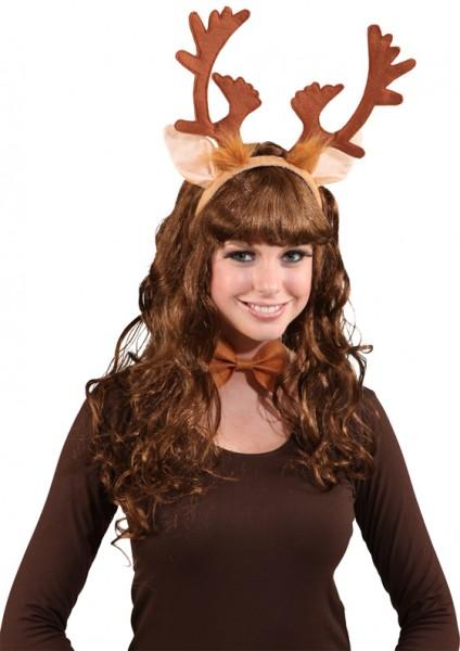 Fasching Weihnachten Rentier-Set - Haarreif mit Rentiergeweih und Fliege