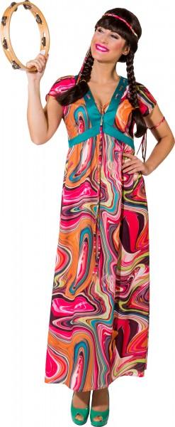 Faschingskostüm Damen Hippie Kleid - Kleid, Haarband, Armband
