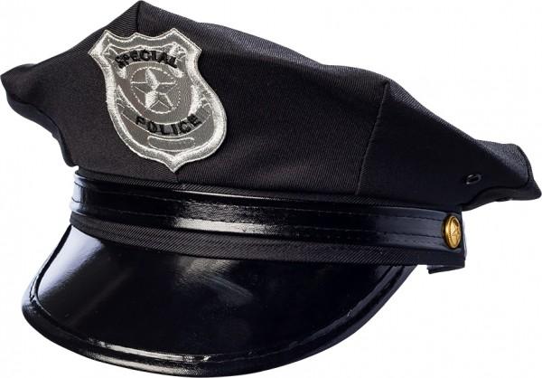 Fasching Police Mütze schwarz- verstellbare Kopfweite