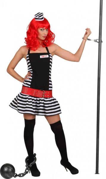 Sträflingsfrau (Kleid, Mini-Sträflingskappe) in den Größen 36 bis 44