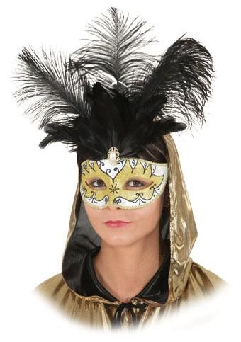 Faschingsmaske Halbmaske gold-weiß mit Federn