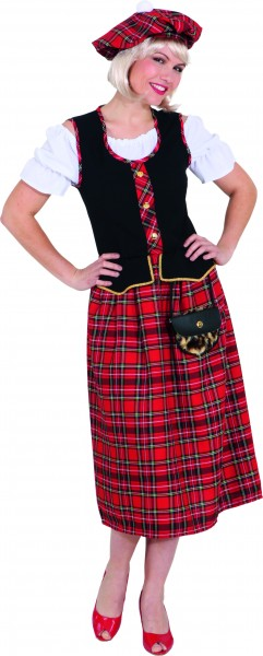 Faschingskostüm Schottin - Kleid mit Mütze - Größe: 38 - 48