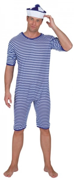 Badeanzug blau-weiß
