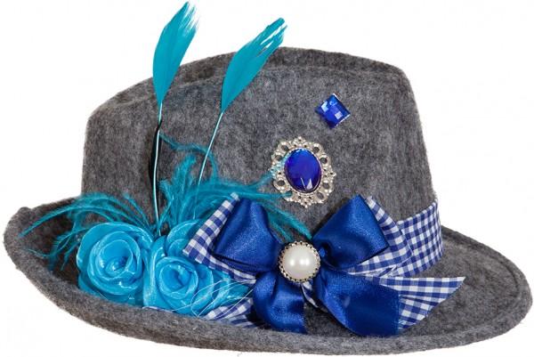Bayernhut Trachtenhut Damen grau-blau mit Schmuck