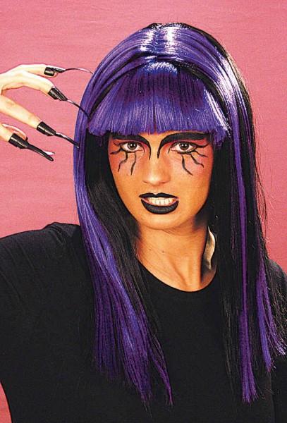 Perücke Hexe Halloween, schwarz-lila