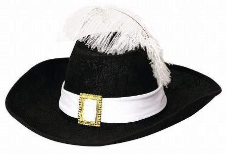 Faschingshut Musketierhut schwarzu mit weißem Band