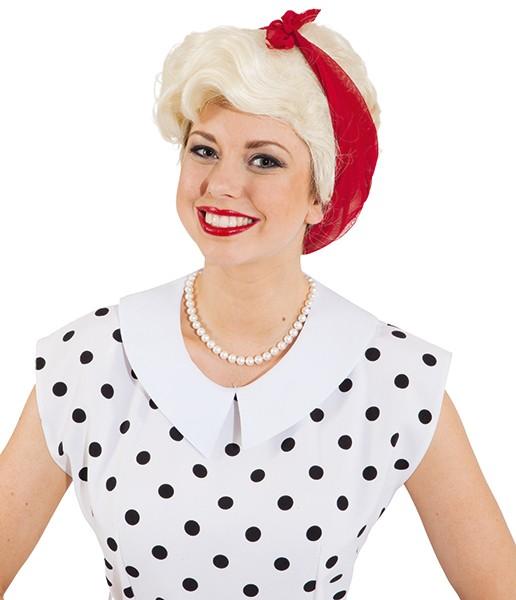 Perücke Damen Emma, blond mit rotem Tuch