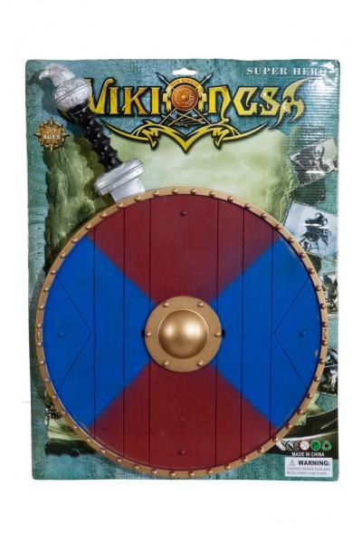 Wikinger-Set rot/blau ( Schild und Schwert ) für Erwachsene