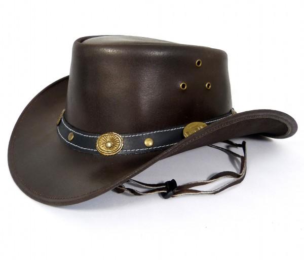 Echt Leder Cowboyhut Westernhut - Brown Split Leather 2-Ton