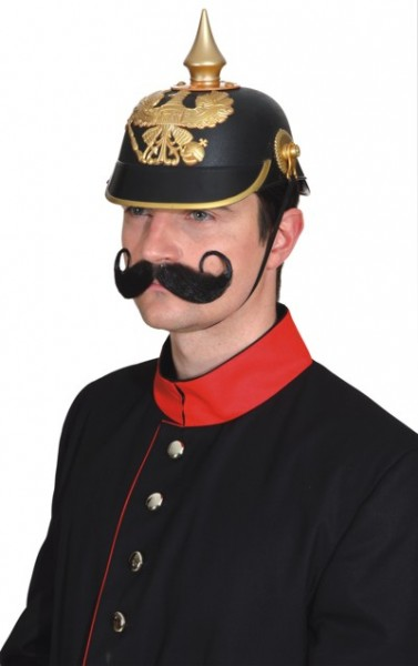 Faschingshut Herren Pickelhaube schwarz-gold