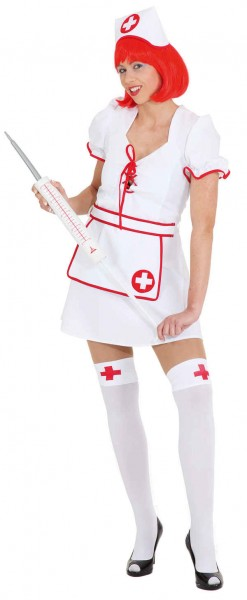 Sexy Krankenschwester (Kleid, Haube) - Größe: 36/38 - 44/46