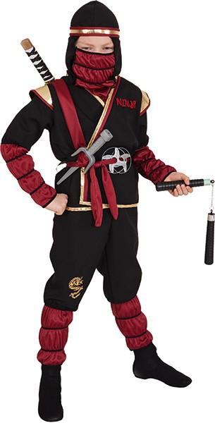 Faschingskostüm Kinder Ninja Kostüm, rot-gold-schwarz