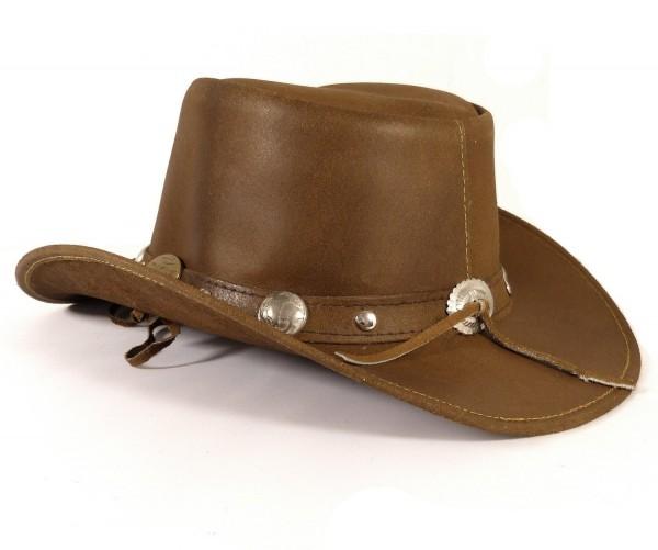 Echt Leder Outdoor Cowboyhut Westernhut Braun - Camel Color Split
