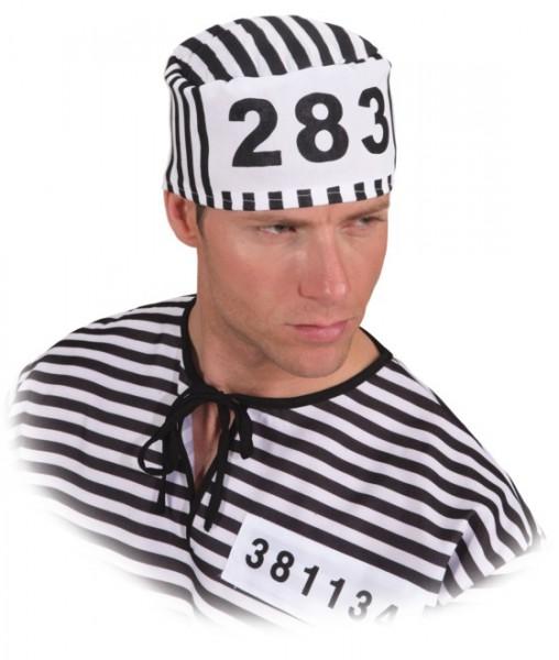 Sträflingskappe, schwarz-weiß gestreift mit Nummer