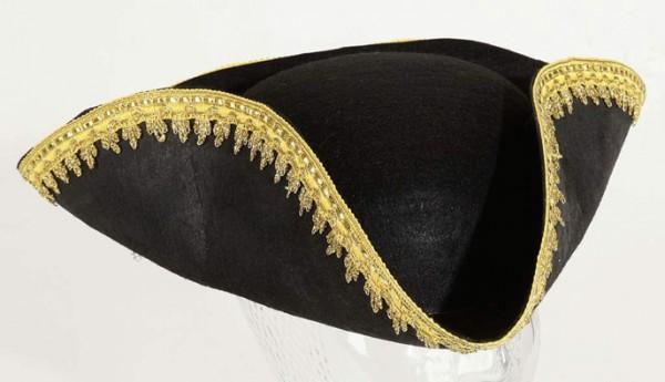Faschingshut: 23603 Dreispitz mit Goldborte, schwarz - KW 59 - 100% Polyester