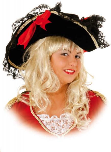 Faschingshut Lady Hut, schwarz mit Spitze, roten Schleifen