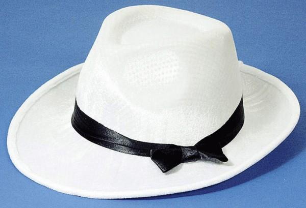 Faschingshut: Samthut weiß mit schwarzem Band