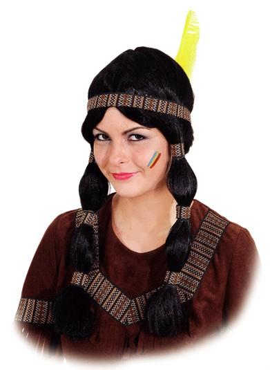 Perücke Indianerin Cheyenne (braunes Band)