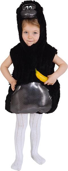 Gorilla Weste, schwarz (schwarze Weste mit Kapuze) - Größe: 104