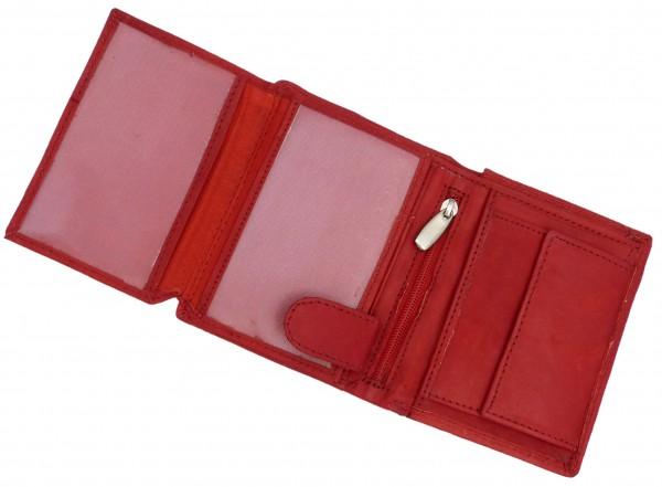 Kompaktes Damen Portemonnaie Geldbörse rot mit 14 Fächern - Echt Leder