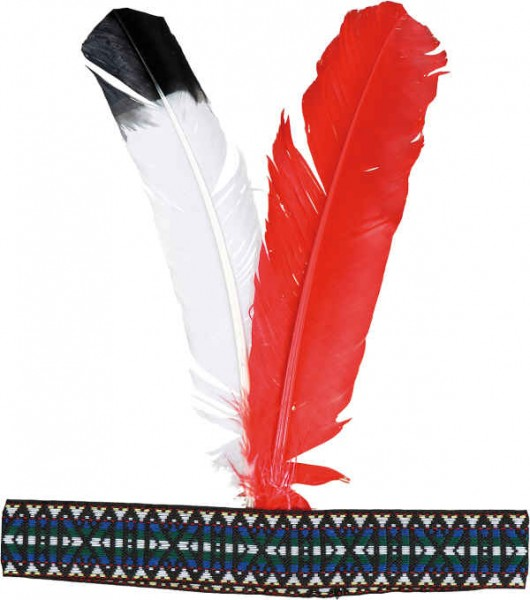 Faschingszubehör Indianer-Stirnband mit Federn