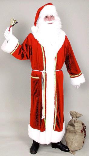 Weihnachtskostüm Weihnachtsmannmantel rot mit Gürtel und Schalkragen mit Luxusfellbesatz