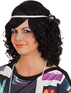 Perücke Gina, schwarz mit weißem Haarkranz