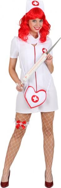 Krankenschwester (Kleid, Haube, Mundschutz) - Größe: 34 - 44/46