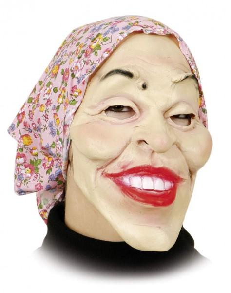 Hexenmaske: alte Frau mit rosa Kopftuch für Erwachsene