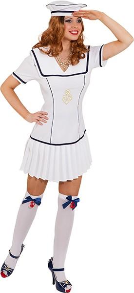 Matrosenkleid, weiß (Kleid, Mütze) - Größe: 34 - 46