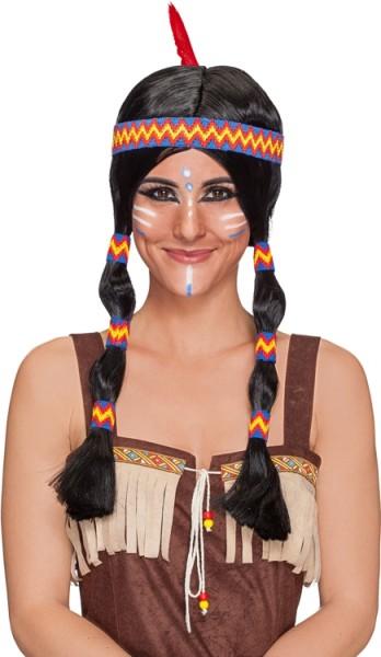 Fasching Perücke Damen Indianerin mit blauem Band