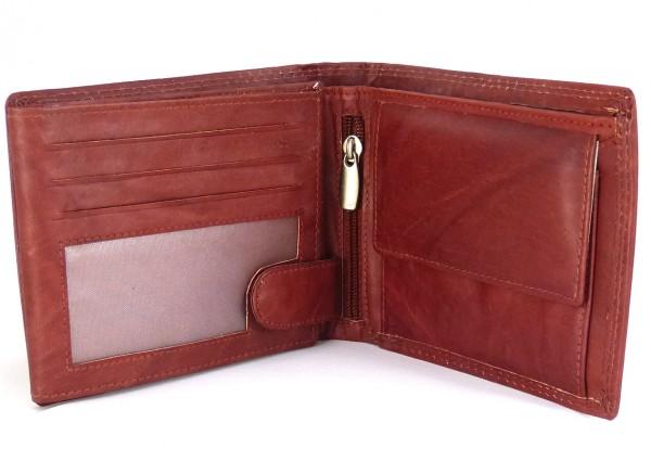 Herren Geldbörse Portemonnaie rotbraun mit 16 Fächern - Echt Leder