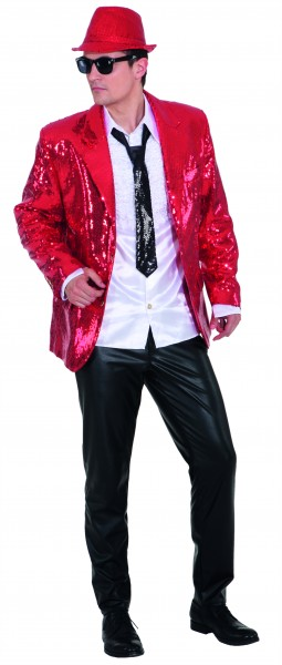 Show Jackett Pailletten, rot - Größe: 48/50 - 56/58