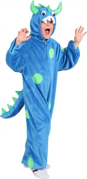 Fasching Kostüm Kinder Monster blau-grün - Overall mit Kapuze
