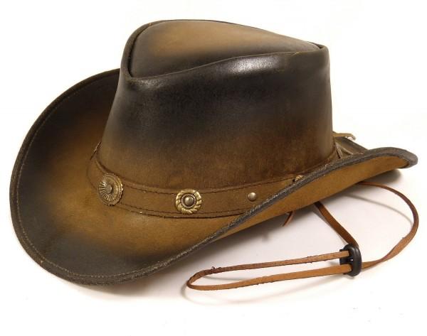 Echt Leder Outdoor Cowboyhut Westernhut Braun - Camel Split